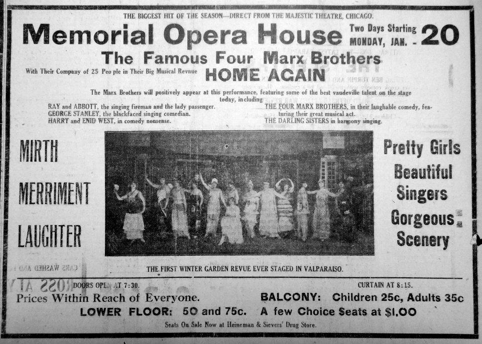 Original ad from the Valparaiso Evening Messenger detailing the January 20, 1919 show of the Marx Br